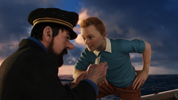 (L to R) Captain Haddock (Andy Serkis) and Tintin (Jamie Bell) in THE ADVENTURES OF TINTIN: THE SECRET OF THE UNICORN.